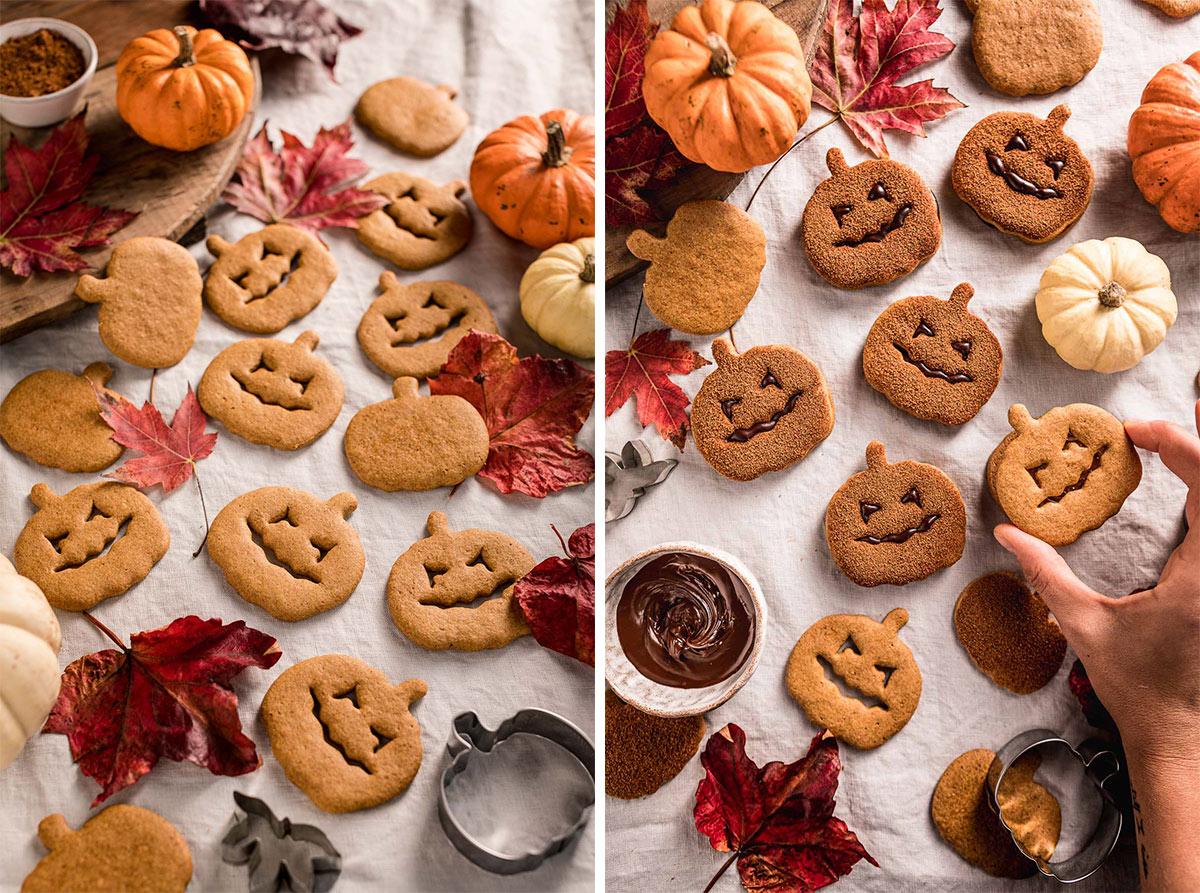 how to make vegan pumpkin cutout cookies recipe Halloween cookies come fare i biscotti alla zucca vegan integrali senza uova senza burro