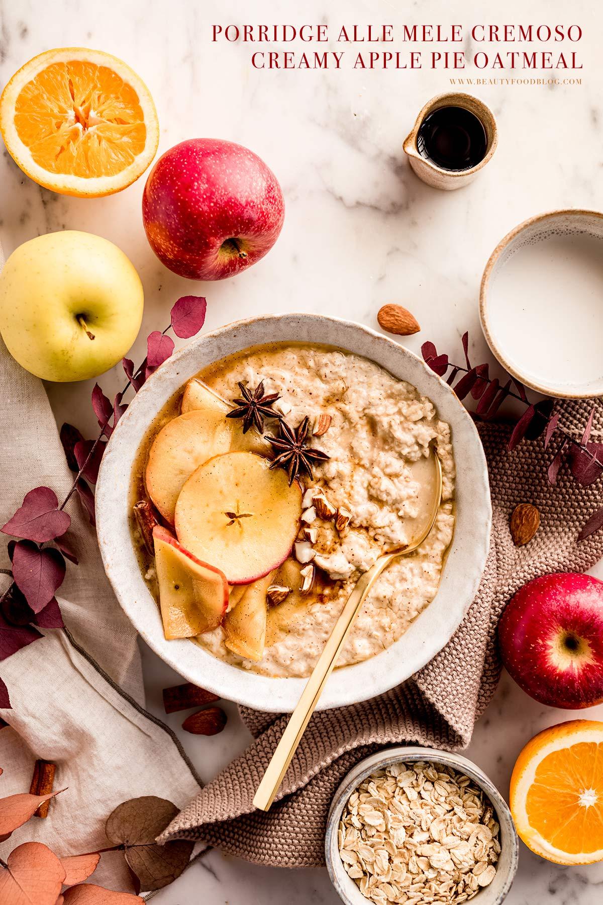 vegan healthy creamy apple pie oatmeal recipe gluten-free ricetta porridge alle mele cremoso vegan senza glutine porridge torta di mele