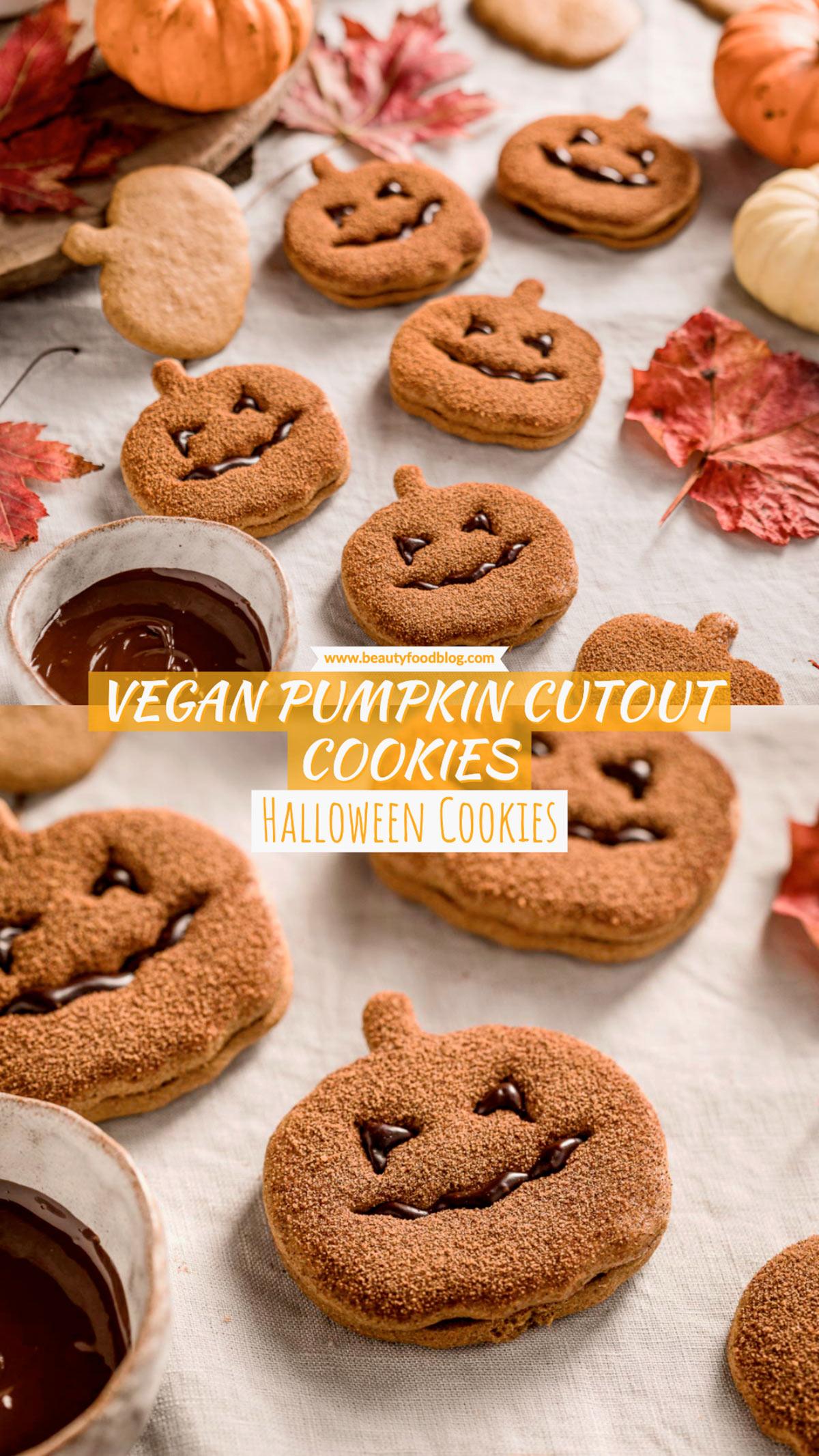 vegan pumpkin cutout cookies recipe biscotti vegan alla zucca frollini integrali senza uova senza burro Halloween cookies Jack O Lantern