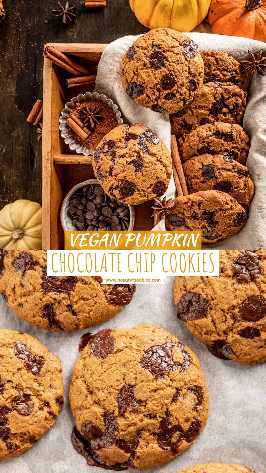 healthy VEGAN PUMPKIN CHOCOLATE CHIP COOKIES recipe food photography ricetta COOKIES alla ZUCCA e CIOCCOLATO biscotti alla zucca e gocce di cioccolato senza uova senza burro
