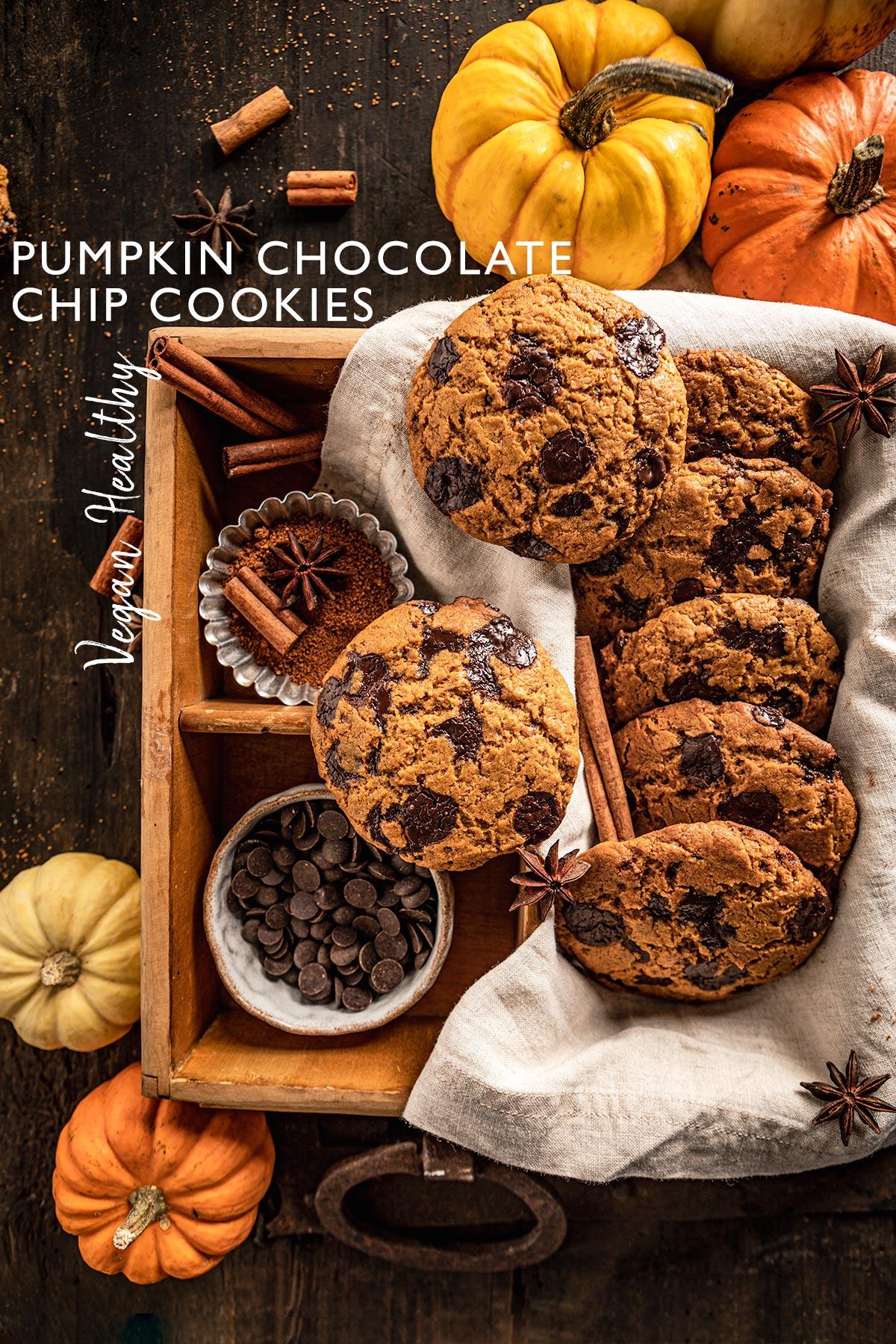 healthy VEGAN PUMPKIN CHOCOLATE CHIP COOKIES recipe food photographyricetta COOKIES alla ZUCCA e CIOCCOLATO sani e facili senza uova senza burro biscotti alla zucca e gocce di cioccolato