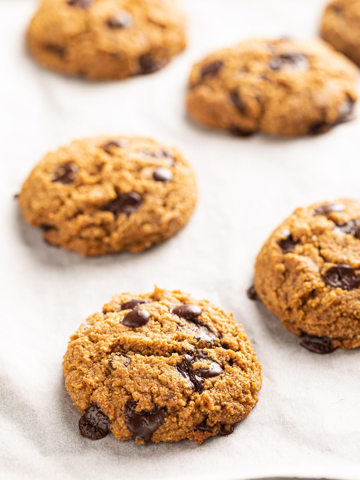 how to make gluten-free VEGAN CHOCOLATE CHIP PUMPKIN COOKIES recipe ricetta COOKIES VEGANI SENZA GLUTINE alla ZUCCA e ciocolato biscotti al cioccolato senza uova senza burro
