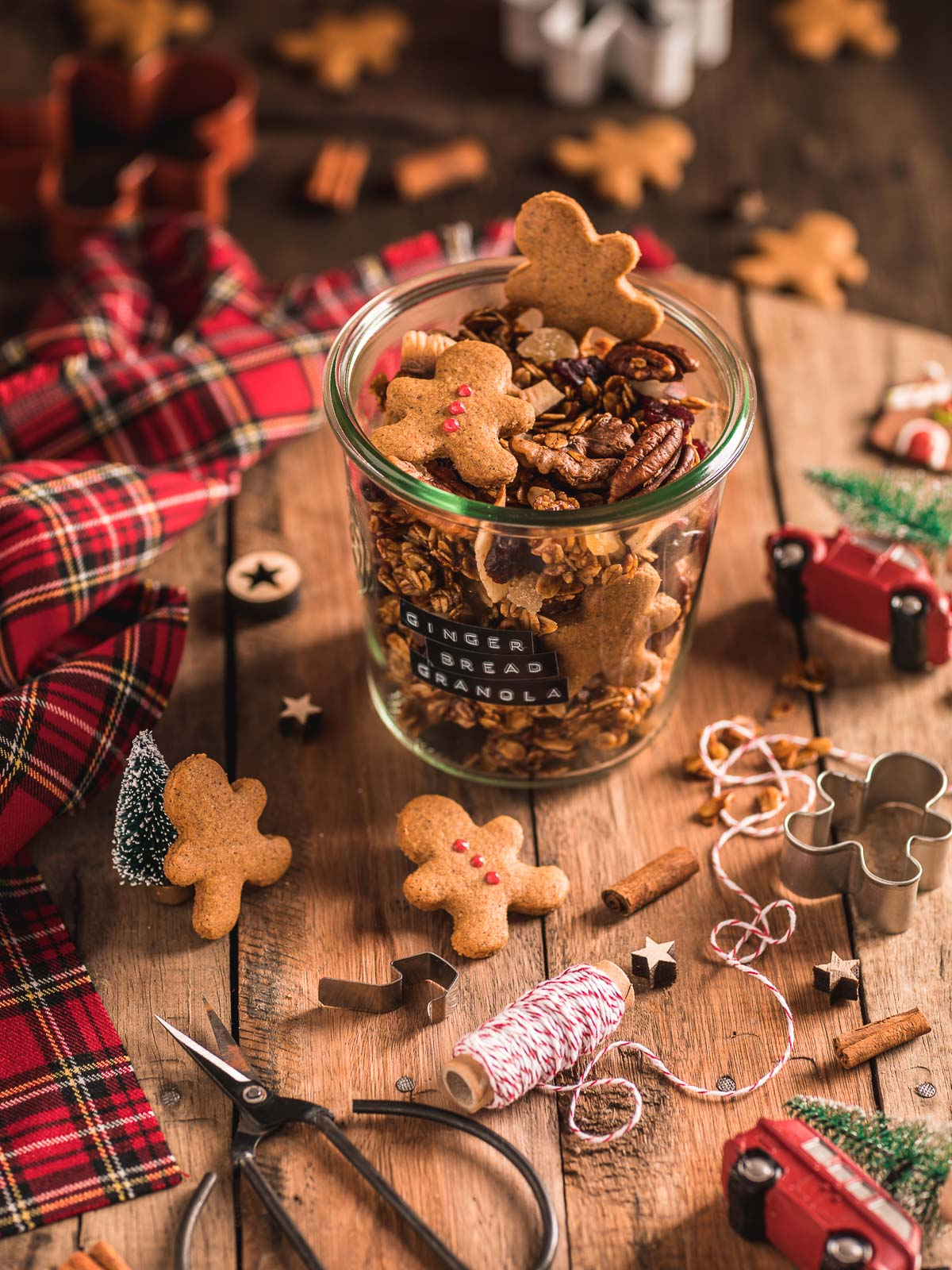 Gingerbread Granola Crispy sweet and spiced recipe perfect for holidays guests #vegan #glutenfree Ricetta granola pan di zenzero idea regalo di Natale vegan Christmas gift idea