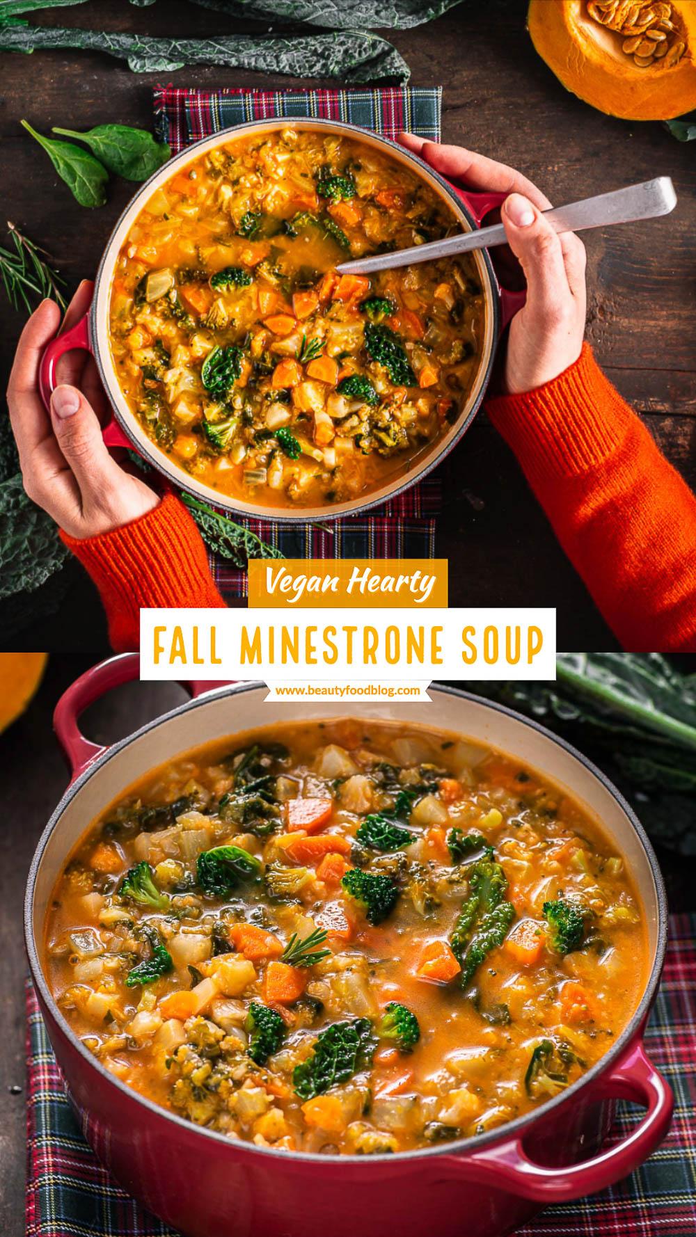 Italian Hearty fall minestrone soup recipe with pumpkin broccoli cavolo toscano Ricetta minestrone di verdure autunnale con zucca e cavolo toscano zuppa di verdure