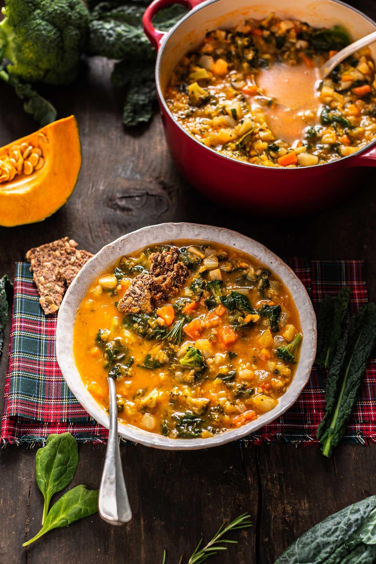 Italian hearty fall minestrone soup autumn soup minestrone di verdure autunnale zuppa di verdure