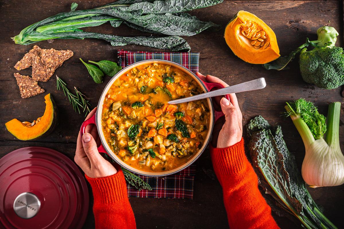 Italian pumpkin cavolo toscano healthy fall minestrone soup recipe ricetta minestrone di verdure autunnale con zucca e cavolo zuppa di verdure