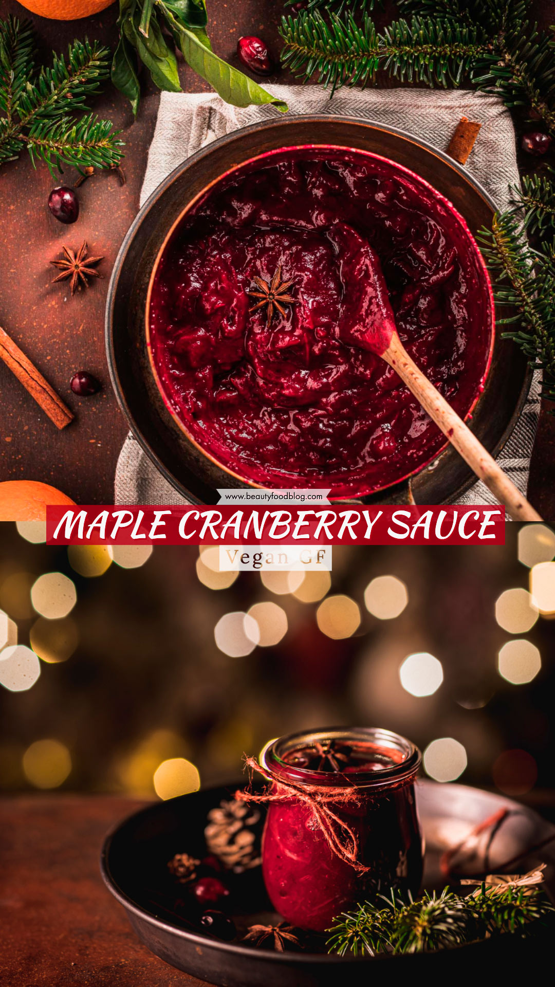 Maple Cranberry Sauce recipe naturally sweetened with maple syrup healthy ricetta salsa di mirtilli rossi senza zucchero vegan Natale Thanksgiving