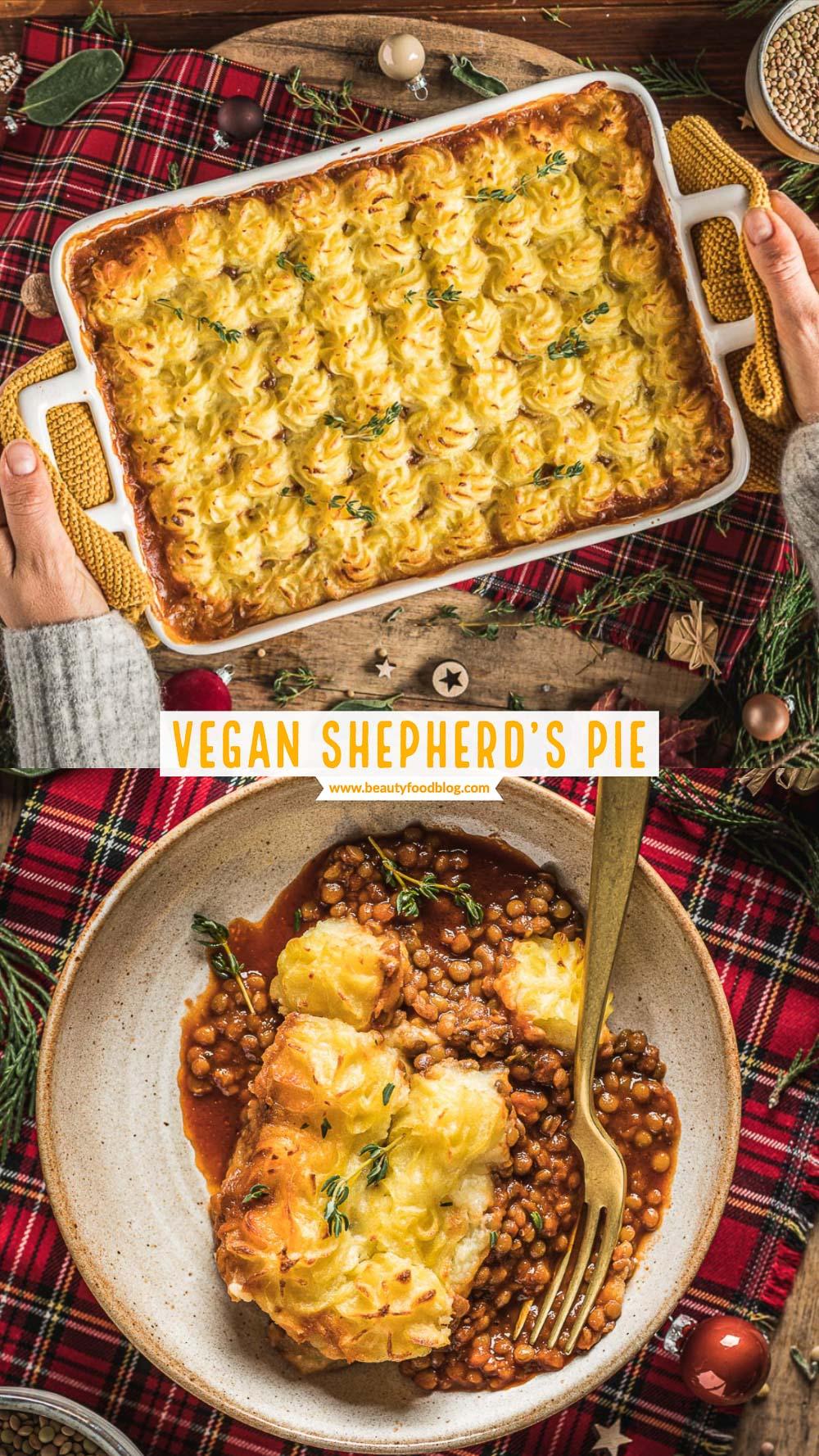 Vegan Shepherd's Pie di lenticchie con ragù di lenticchie funghi e purè di patate per Inverno Natale healthy lentil shepherd's pie recipe with mash potatoes for Thanksgiving