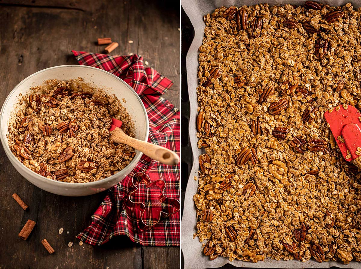 come fare granola pan di zenzero idea regalo di Natale vegan how to make Gingerbread Granola Crispy sweet and spiced perfect for holidays #vegan #glutenfree 2