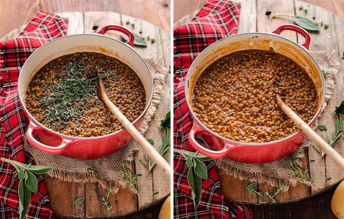 come fare la Shepherd's Pie di lenticchie con ragù di lenticchie funghi e purè di patate How to make Vegan Lentil Shepherd's Pie healthy cottage pie for Thanksgiving 3