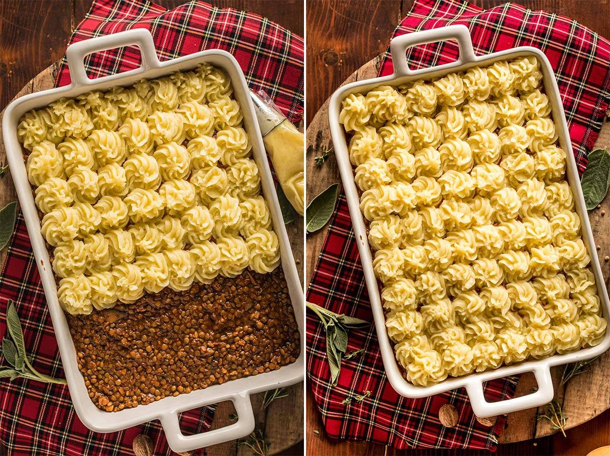 come fare la Shepherd's Pie di lenticchie con ragù di lenticchie funghi e purè di patate How to make Vegan Lentil Shepherd's Pie healthy mash potatoes for Thanksgiving