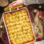 ricetta Vegan Shepherd's Pie di lenticchie con ragù di lenticchie funghi ricetta di Natale healthy Vegan Lentil Shepherd's Pie recipe cottage pie for Thanksgiving