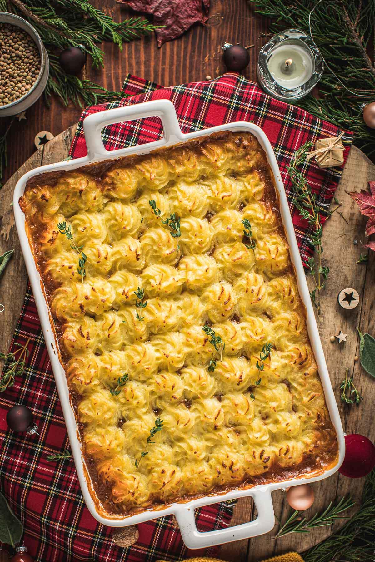 ricetta di Natale Vegan Shepherd's Pie di lenticchie con ragù di lenticchie funghi healthy Vegan Lentil Shepherd's Pie recipe cottage pie for Thanksgiving
