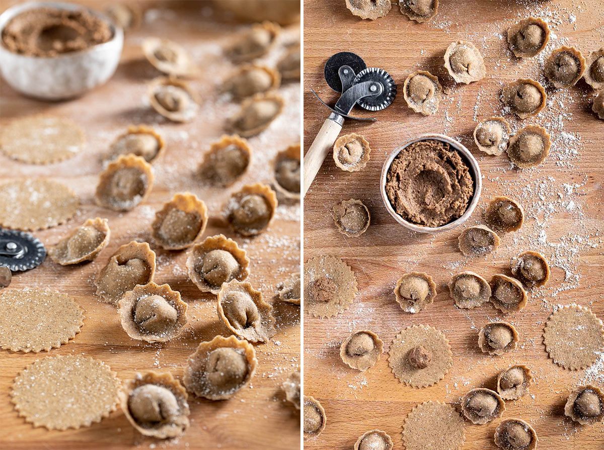 Come preparare i ravioli vegan di lenticchie in brodo o in padella con ripieno di lenticchie How to make vegan tortelli in brodo in broth with lentils mushrooms and walnuts Christmas recipe