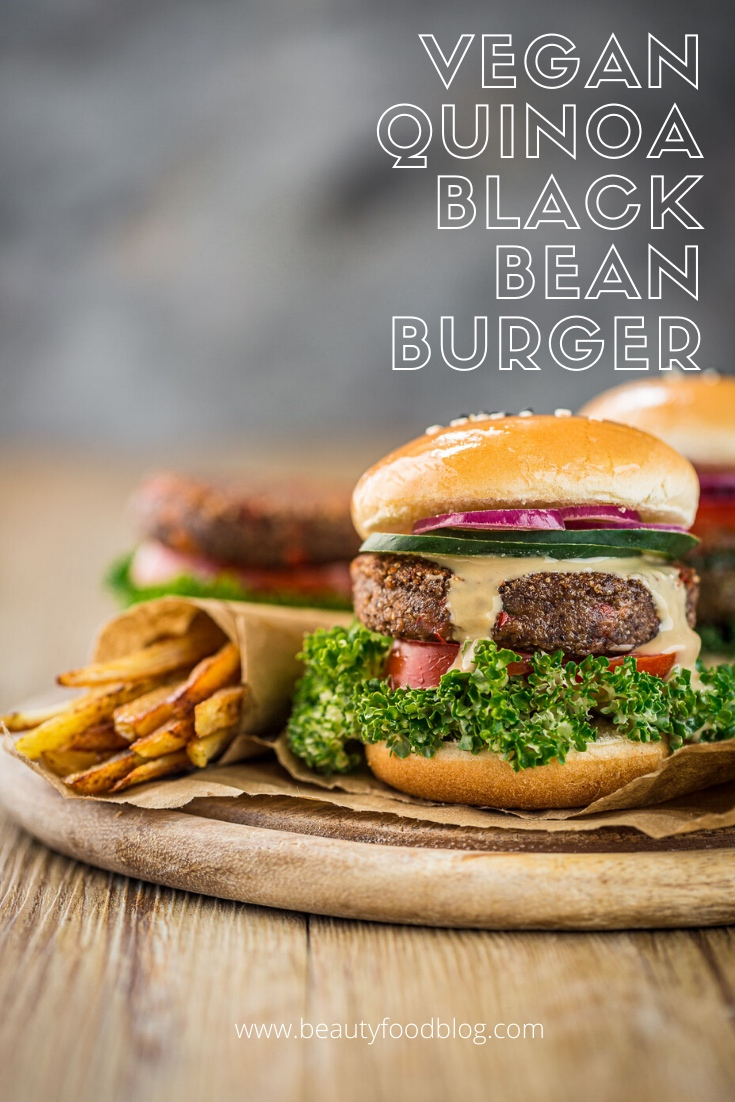 healthy Vegan Quinoa Black Bean Burger recipe gluten-free soy-free egg-free with french fries Burger di quinoa e fagioli vegan senza glutine senza uova con patataine al forno proteico