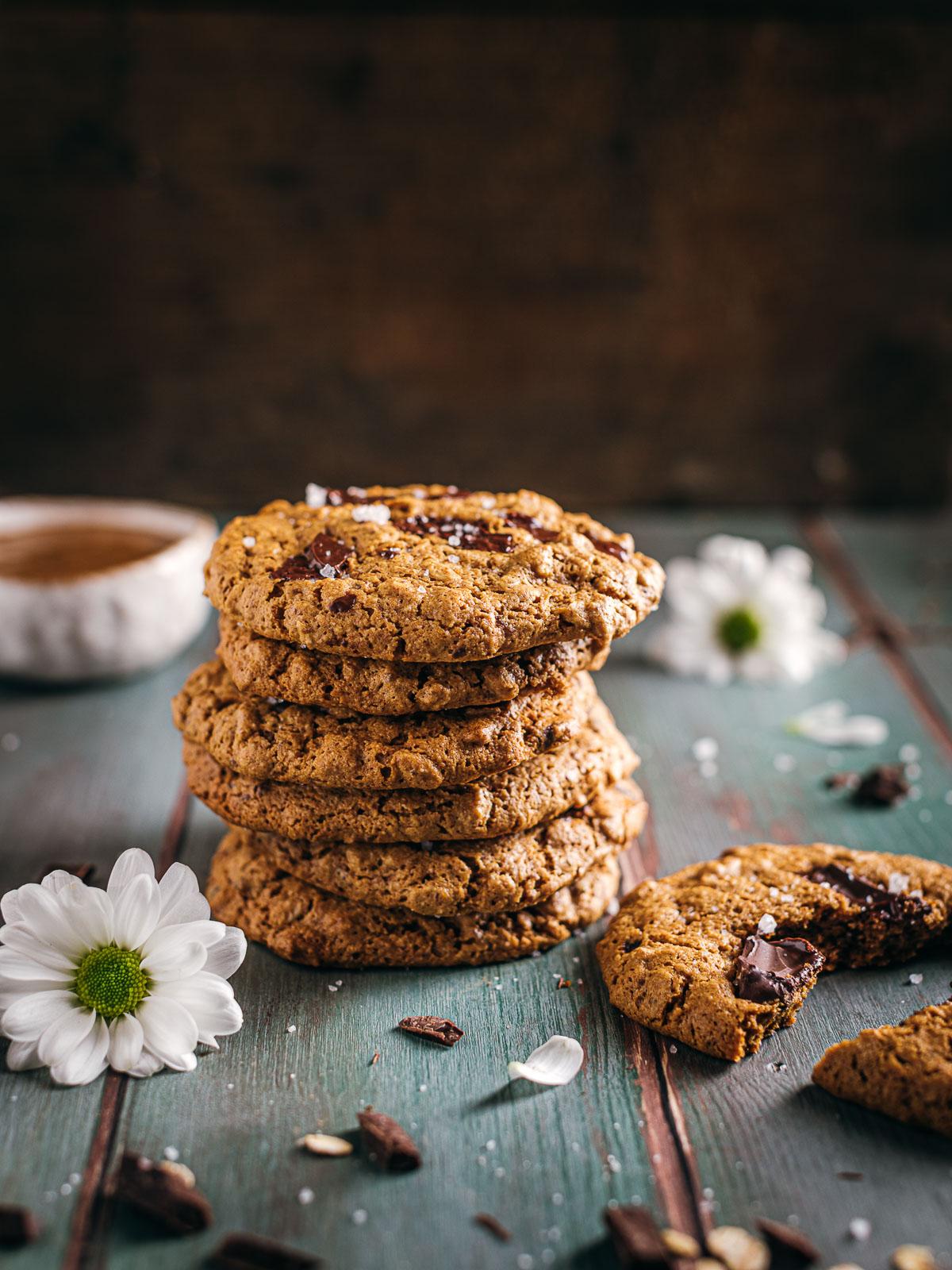 how to make Healthy Vegan Oatmeal Chocolate Chip Cookies recipe ricetta come fare Cookies vegani senza glutine al cioccolato integrali