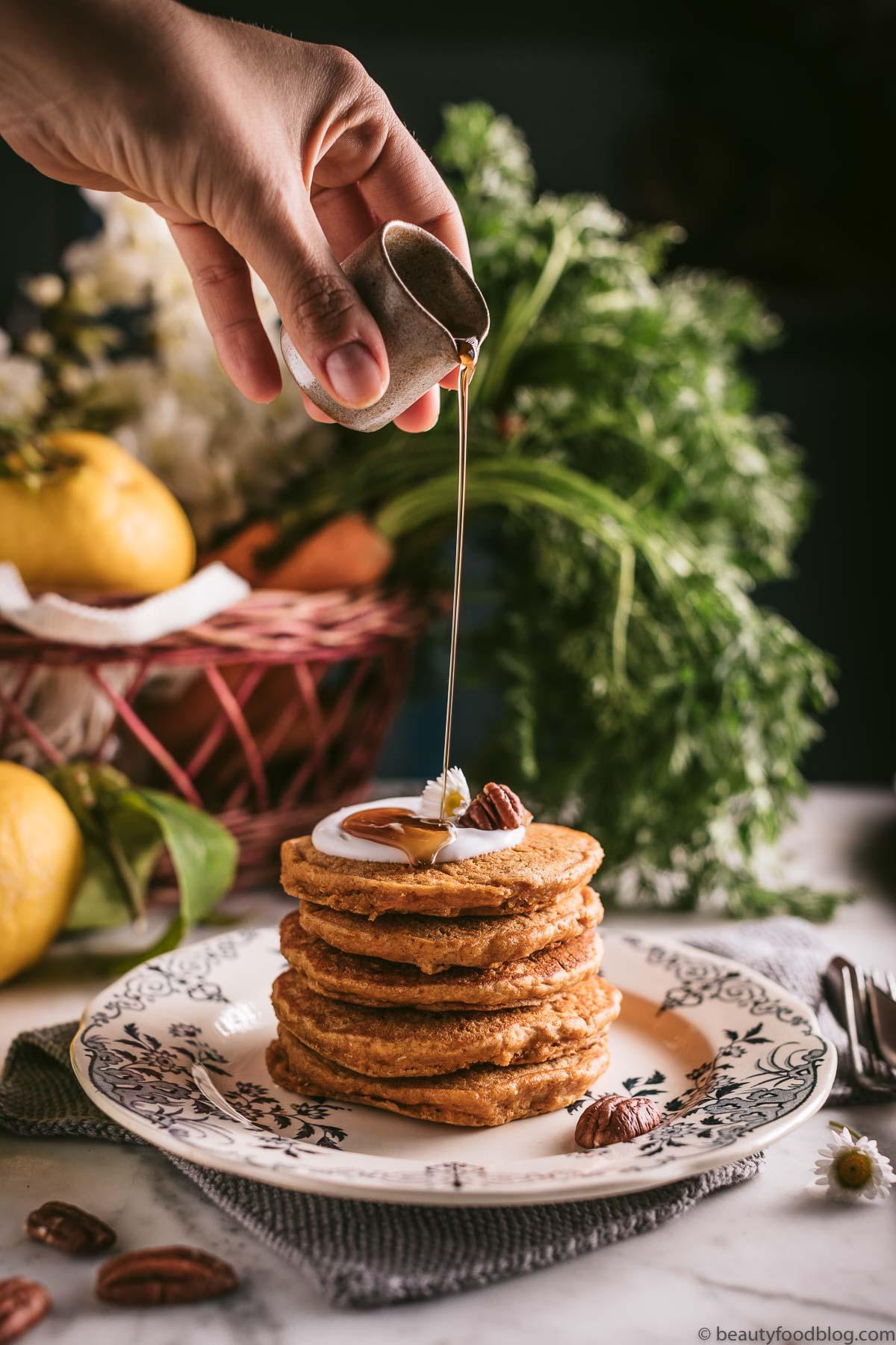 Ricetta Pancake Alla Quinoa.Pancakes Vegan Alle Carote Vegan Carrot Cake Pancakes