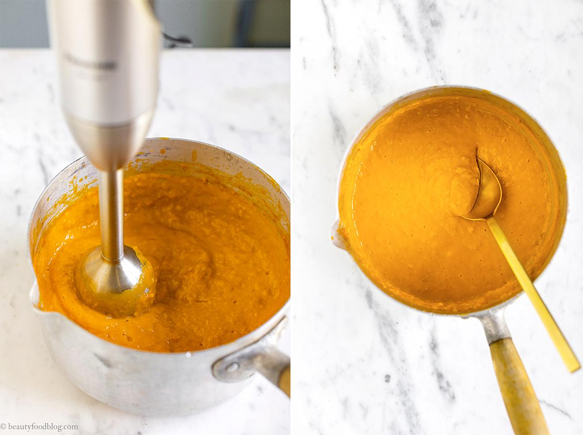 pan with cooked yellow tomato sauce pentola con pomodorini gialli cotti in salsa