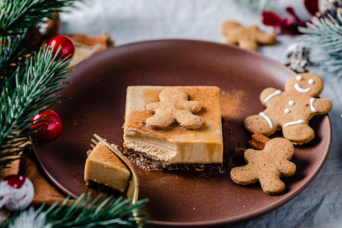creamy gluten-free vegan no-bake gingerbread cheesecake recipe ricetta cheesecake al pan di zenzero senza cottura senza glutine