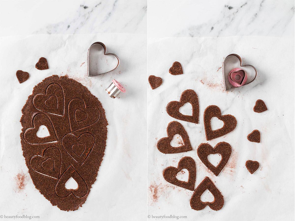 come fare pasta frolla frollini vegani senza glutine al cacao e caffè gluten-free vegan chocolate almond linzer cookies