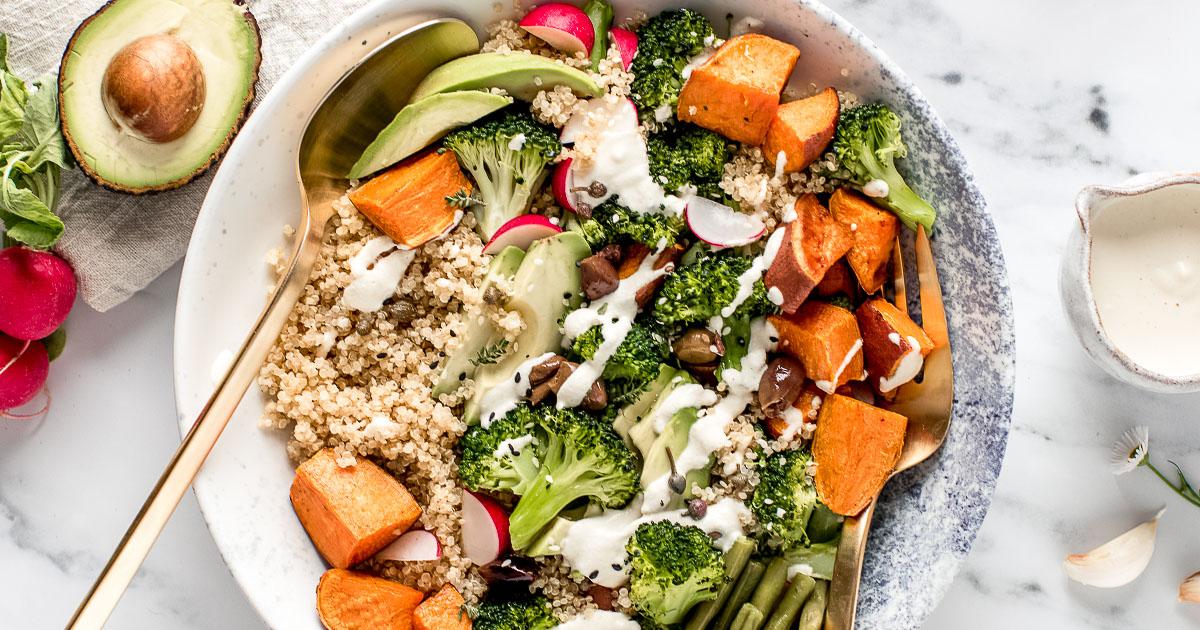 ricetta BUDDHA BOWL QUINOA e BROCCOLI senza glutine vegan Sweet Potato Broccoli Buddha Bowl