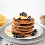 ricetta PANCAKES BANANA e MIRTILLI SENZA GLIUTINE senza uova gluten-free Vegan Banana Blueberry Pancakes with buckwheat